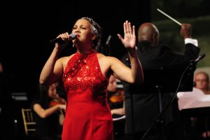 Alicia Helm McCorvey performs at the Kentucky Governor's Mansion Centennial Celebration.