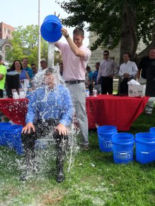 Forcht Bank President & CEO Tucker Ballinger partaking in the ALS Ice Bucket Challenge.