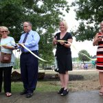 CM Peggy Henson, Commissioner Geoffrey Reed, Director Monica Conrad and CM Jennifer Scutchfield cut the ribbon for the new playground at Jacobson Park Aug. 2, 2016.