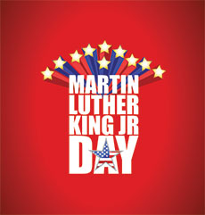 Martin Luther King JR day sign with stars illustration background