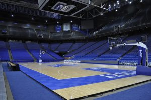 Empty Rupp Arena viewed from the court