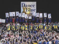 Students revealing DanceBlue donation
