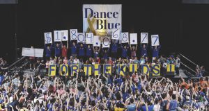 Students revealing DanceBlue donation