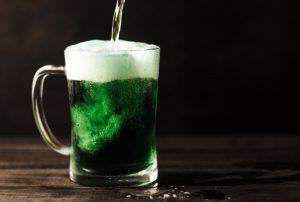 green beer in glass mug
