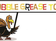 "graphic of a turkey holding a ""gobble grease toss"" sign"