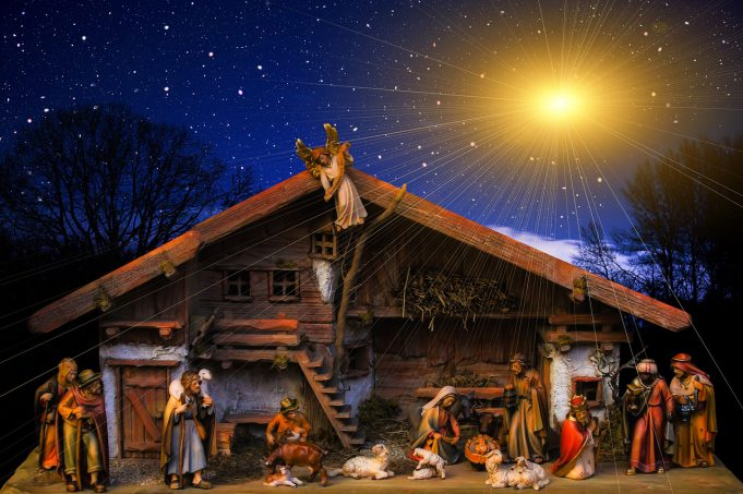 church: drawing of a nativity scene with a dark blue sky