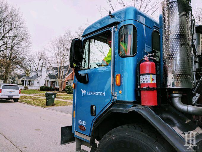 waste: a garbage truck