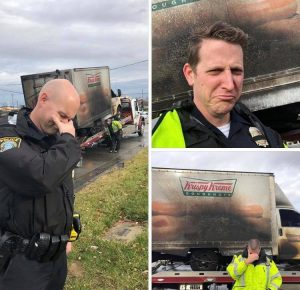 seires of picturs with distraught officers and a burnt krispy kreme truck in the background