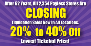 payless: closing sign with purple background and yellow/white lettering