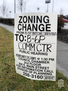 sign that said zoning change
