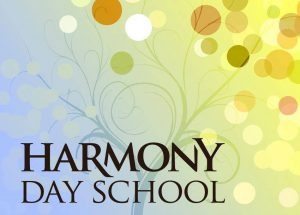 logo that has blues, greens, and yellows that says harmony day montessori school in black