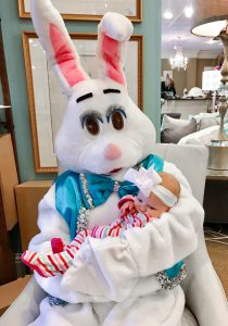 Egg Hunt: easter bunny holding a baby in a hospital