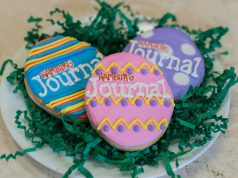 Egg Hunt: cookies in the shape of eggs with colorful icing that says Hamburg Journal