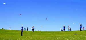 Lexington: blue sky with people flying kites