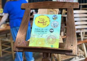 Kentucky Crafted Market: pamphlet on a wooden music stand