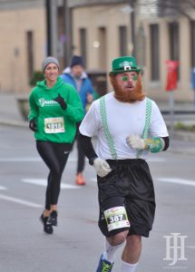 Shamrock Shuffle: man dressed like a leprechaun running