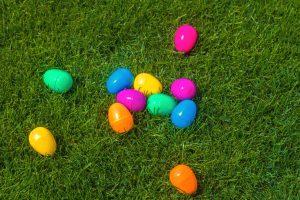 Egg Hunt: colorful plastic eggs on green grass