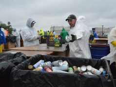 Hazardous Household Materials: people in white hazmat suits sorting materials