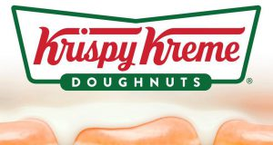 Krispy Kreme logo and glazed doughnuts