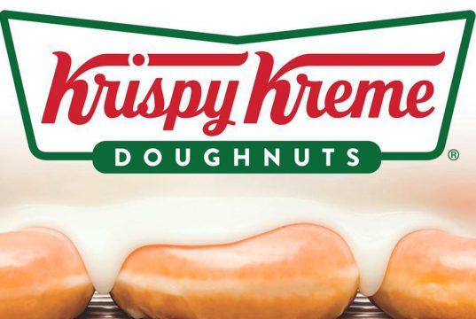 Krispy Kreme logo and glazed doughnuts