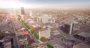 Home and Garden Transportation Plan: aerial view of downtown lexington