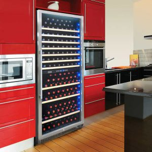 Costco: a large fridge with red cabinets