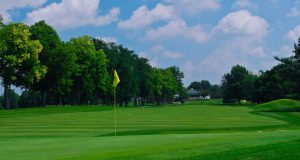 Greenbrier: golf course with a yellow flag in the hole