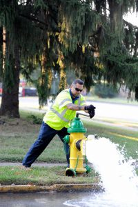 Flushing Program: a man in a reflective vest opening a yellow and green hydrant