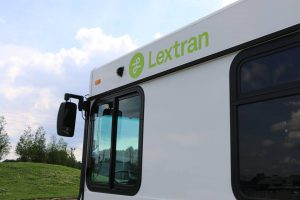 Air Quality: a white bus that says lextran in green