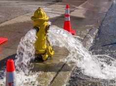 Flushing Program: a yellow hydrant with water coming out