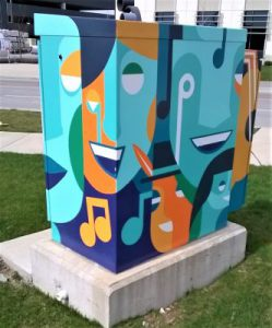 Traffic Box: painted abstract mural