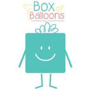 logo with a teal bag and says Box of Balloons