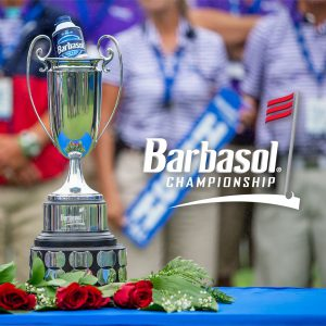 trophy with a barbasol can and a graphic that says Barbasol Championship