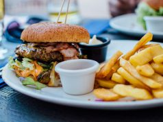 Restaurant: burger and fries on a plate