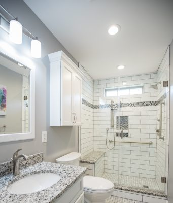 Remodeled: Gray marble bathroom - shower