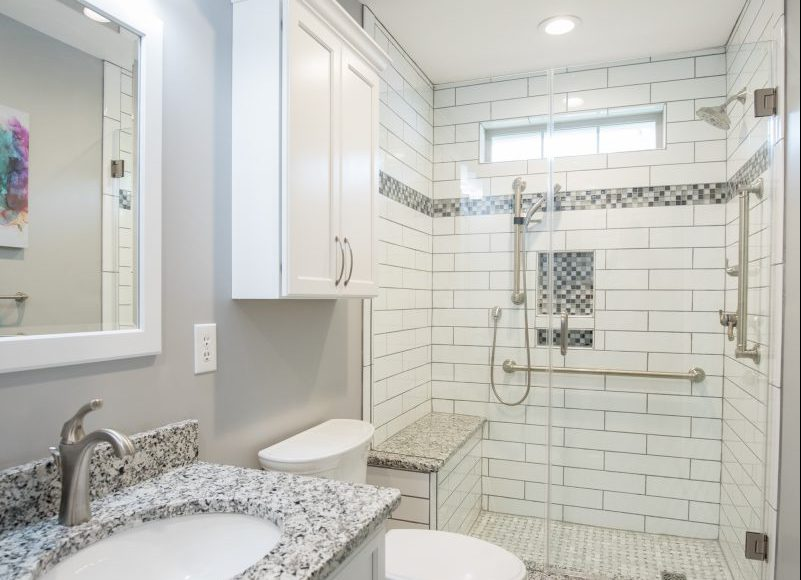 Remodeled: Gray marble bathroom - shower