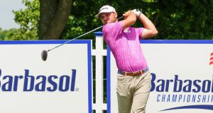 Barbasol: a golfer in a pink shirt swinging a club