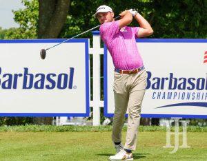Barbasol: a golfer in a pink shirt swinging a club