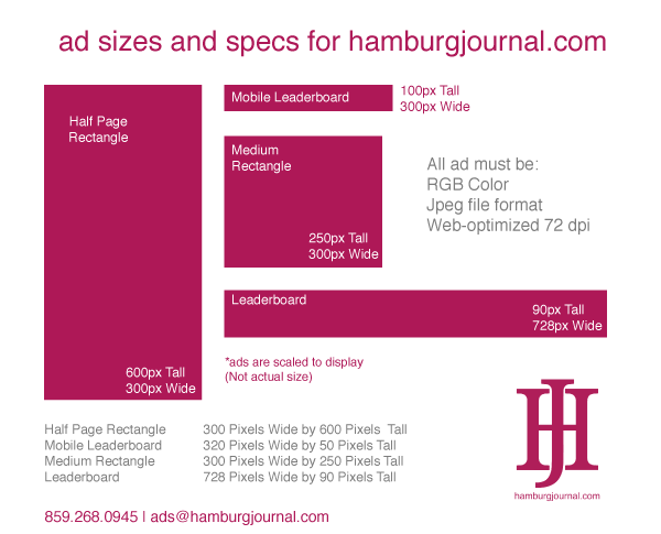 rate card: ad sizes and specs to advertise hamburgjournal.com in Lexington KY