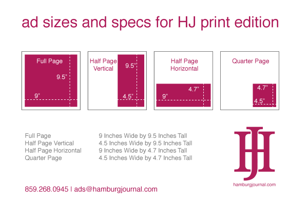 rate card: ad sizes and specs to advertise Hamburg Journal print advertising in Lexington KY