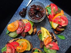 B.L.T.: tomatoes and jam on a board