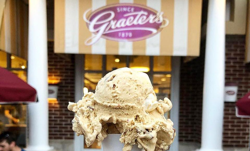 a girl holding an ice cream cone with a Graeter's sign in the back
