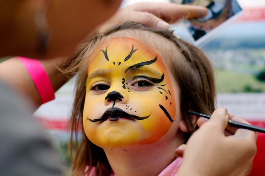 Festival: a girl getting her face painted like a tiger