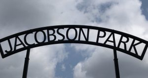iron sign that says Jacobson Park