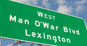 I-75: green sign that says Man O' War Boulevard