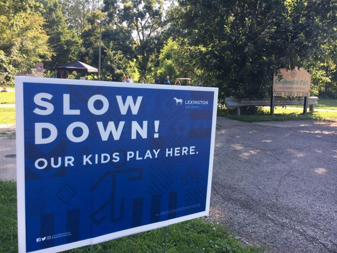 political yard sign turned slow down sign