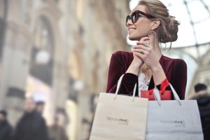 Black Friday: a woman holding shopping bags